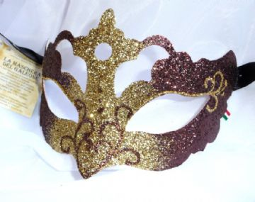 Genuine Venetian Glittered Bronze & Gold half Mask